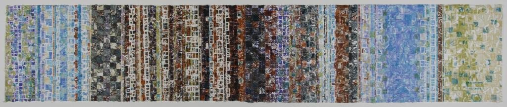 "Urban Scrawl 1 Woodcut, 14"" x 78"" 2016"