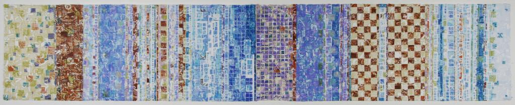 "Urban Scrawl 2, Woodcut, 14"" x 78"", 2016"